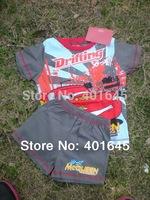 2014 new item boy  carton suit car design suspender+short for summer kids clothing set