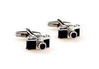 Wholesale-Free shipping camer black paint plating white steel cufflinks for men's shirt