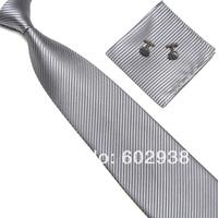 men's solid neck tie sets neckties ties cufflinks cuff links hanky Pocket square Handkerchiefs 19colors for choose