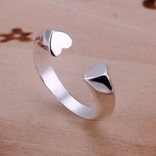 Wholesale New Beautiful Fashion Jewelry 925 Silver Ring,The Opening Half Heart Ring,925 Sterling Silver Rings Free Shipping R030