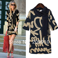 Fashion women's New  2014  XL clothes printed dress,fat women dresses Scarf free for  you !