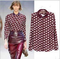 Women Vintage Heart Print Chiffon Blouses Long Sleeve Button Tops Drop Shipping