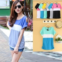 2014 women's short-sleeve o-neck patchwork T-shirt strapless color block loose t-shirt plus size casual T-shirt new fashion