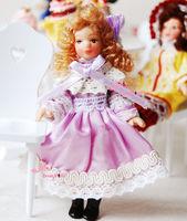 SWEET SKIRT Light Purple blond Hair Baby GIRL 1/12 scare Dollhouse Miniature DOLL