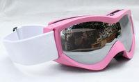 Rayzor  Double Lens Polarized AntiFog Windproof Ski Goggles UV400 Protection Snowing Glasses bright pink frame black lens women