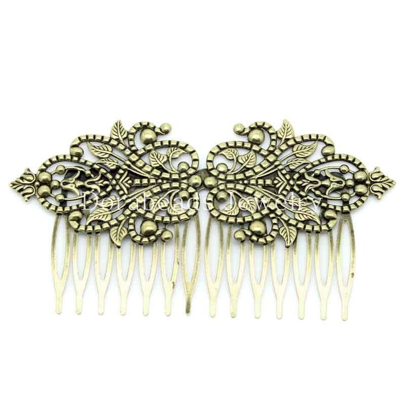 hot- Hair Clips Comb Shape Flower Antique Bronze 9.8x5.2cm,2PCs (B26044)(China (Mainland))