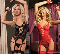 New Women's Sexy Lingerie Black Red Lace Dress+G string+Handcuff+Garter Belt #2013