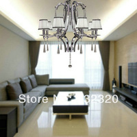 Free Shipping Chrome Finish 8 Lights Modern Crystal Chandelier With White Color Lamp Shade For Living Room