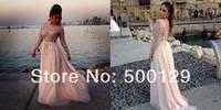 Sexy New Vestidos De Fiesta Crystal Beaded Chiffon Formal Long Evening Dresses Special Occasion Prom Dresses Custom Made 2014