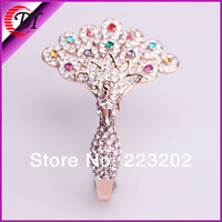 2014 New Retail Romantic Style Free Shipping Fashion Punk Style Peacock Shape Rose Gold Plated  Rings For Woman WNR788