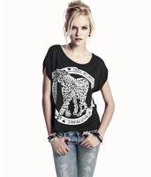 Tame crepitations my heart wild leopard print o-neck black short-sleeve T-shirt