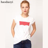 Classic denim brand LOGO print o-neck slim t-shirt white 6 full