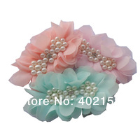 4inch Rhinestone Chiffon Flower with  Pearl Rhinestone Fabric flower  girl's hair accessories women's Clothing Hair Flower