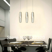 Free Shipping Modern 3 Lights Glass Pendant Lamp With Clear Vase Lamp Shade With Crystal Bead Decoration For Dinner Room