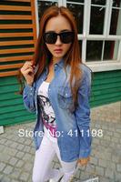 2014 European style women denim blouse jeans shirt slim shirt WF2107 long-sleeve denim shirt female cowboy shirt