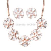 Min.order is $15 Multilayer Rose Gold Enamel Flowers Statement Necklaces & Earring Set for women choker necklace NK113