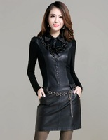 Ms. spring new Korean Slim leather leather leather women big yards long sleeve bottoming