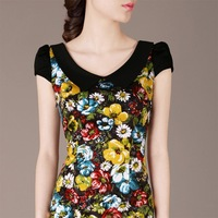 2014 spring new Slim OL lady peter pan collar short-sleeved floral dress