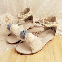 Children Shoes Sandals New 2014 Latest Girls Shoes Flower Grenadine Bowknot Pink Beige Girls Sandals Princess Party Fancy Shoes