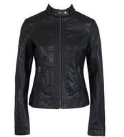 single Pimkie washed PU leather motorcycle jacket Slim female short paragraph leather large size wholesale Free shipping