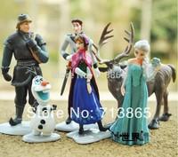 Frozen Figure Play Set Anna Elsa Hans Kristoff Sven Olaf 6pcs set classic toys,New Styles plastic toys, Free shipping