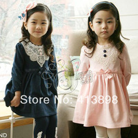 2014 spring and autumn lace girls clothing baby child long-sleeve dress qz-0230 freeshipping princess dress