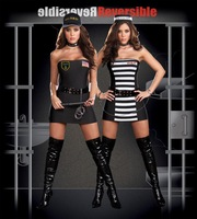 Police and inmates serving uniforms temptation role-playing sex costumes lingerie 9641-2 , free shipping