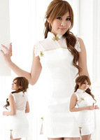 Japan's high-necked white cheongsam temperament sex costumes lingerie y6011-2 , free shipping