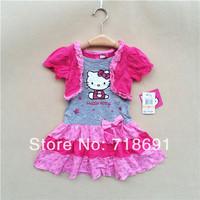 In Stock! Girls Cartoon Dress, Kid summer one-piece bow dress fashion cute children wear 6pcs/lot