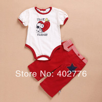Retail baby clothing set 0-6 months infant clothing set casual short sleeves cartoon little doggy rompers+trousers TLZ-T0214