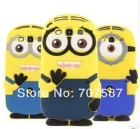 Hot sale cute cartoon model Yellow Minion Black and Blue eyebrow silicon Despicable Me minions case for Samsung Galaxy S3 S4