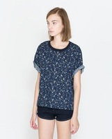 Spring And Summer Fashion Women 2014 Clothes Casual Dress Loose Big Yards Floral Print T-shirt Size M,L#2083