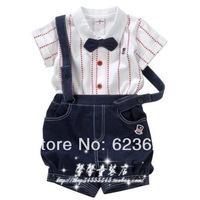 2014newGown collar short-sleeve cardigan bib pants twinset , t16081-c free shipping