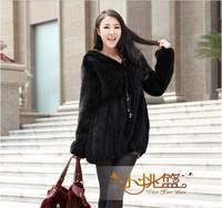 Autumn Women's Genuine Natural Knitted Mink Fur Coat Jacket Flare Sleeve Winter Women Fur Hoody Overcoat Outerwear Coats VK1368