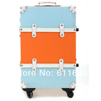 Fashion color block decoration travel bag trolley luggage male women's handbag suitcase luggage14 20 22 24inch set,vintage wind