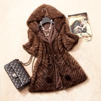 Autumn Women's Genuine Real Knitted Mink Fur Coat Jacket Short Sleeve Winter Women Fur Outerwear Coats Overcoat VK1372