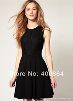 Free shipping 2014 new spring and summer Black embroidery hollow Cultivate one's morality waist dress sleeveless lace dress