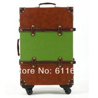 Fashion color block decoration fashion vintage travel bag trolley luggage password box universal wheels luggage14 20 22 24set