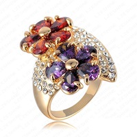 Fashion New Women Wedding Rings Women Accessories Flower Ring Crystal Women Rings 18K Gold Plate Classic Engagement Ring RZ127
