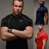 Free delivery of 2013 new styles Men's Collar zipper tights fitness T-shirt speed drying training suit