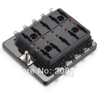 12V 10 Way Blade Fuse Box Board Under Hood Interior LED Car Boat Marine
