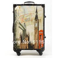Fashion vintage trolley luggage travel bag universal wheels luggage bag female14 20 22 24 luggage set,uk style,high quality