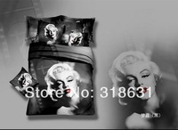 Hot Sale ! 4 or 5pcs 100% Cotton Oil Painting Sexy Goddess Marilyn Monroe Duvet Cover Bedding Bed Linen Sheet Full/Queen-Black