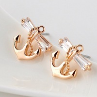 Free Shipping,18K Gold Plated Exquisite Anchor ZC Studs Earrings  AAA Zircon, Wholesale