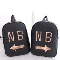 2014 New Style NB spring rivet school bag double-shoulder 2014 PU lovers school bag backpack preppy style bag