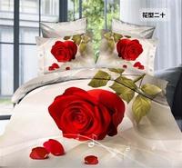 Romantic Red rose princess home 3D reactive printed cotton/polyester 4pcs comforter/duvet/bedspread/bedding set Queen size/B2286