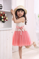 Retails !2014 new summer Baby Girls Toddler Kids dress Princess Party Bowknot Belt Cotton Lace Formal girls' Dress GQ-361