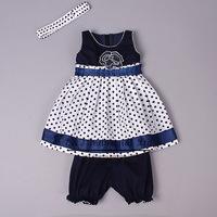 New Fashion Girls Clothing Set  Blue Little Dot Toddler Girls Clothing Sets Girls Summer Sets Kids Clohtes sets Baby Product