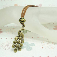 Fashion vintage personality exquisite bronze color peacock necklace long necklace