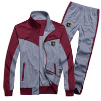 spring new arrival men's clothing color block stand collar leisure cotton  sets man's sports suits (jacket+pants)